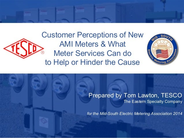 1 10/02/2012 Slide 1 Customer Perceptions of New AMI Meters & What Meter Services Can do to Help or Hinder the Cause Prepa...