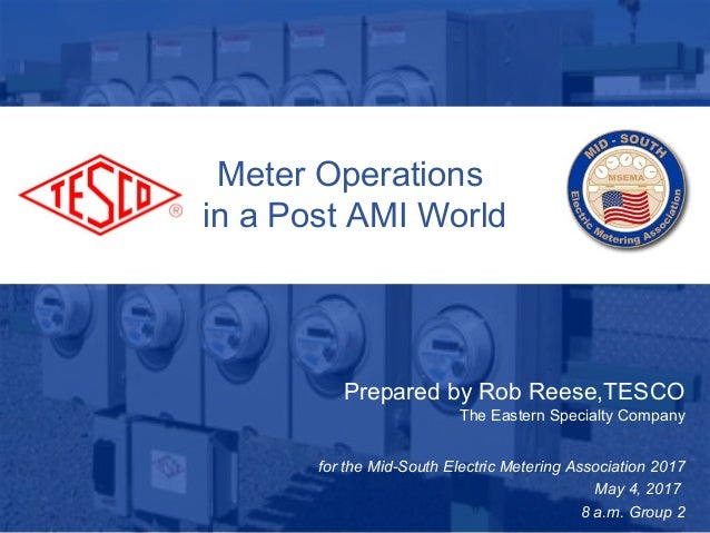 Slide 110/02/2012 Slide 1 Meter Operations in a Post AMI World Prepared by Rob Reese,TESCO The Eastern Specialty Company f...