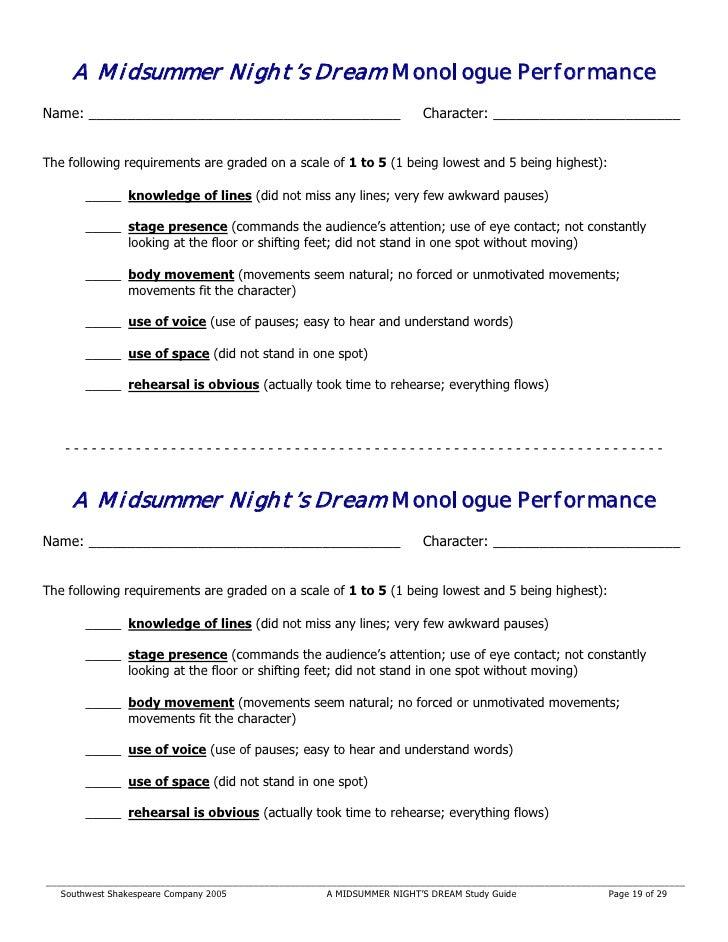 A Midsummer Nights Dream Monologue PerformanceName