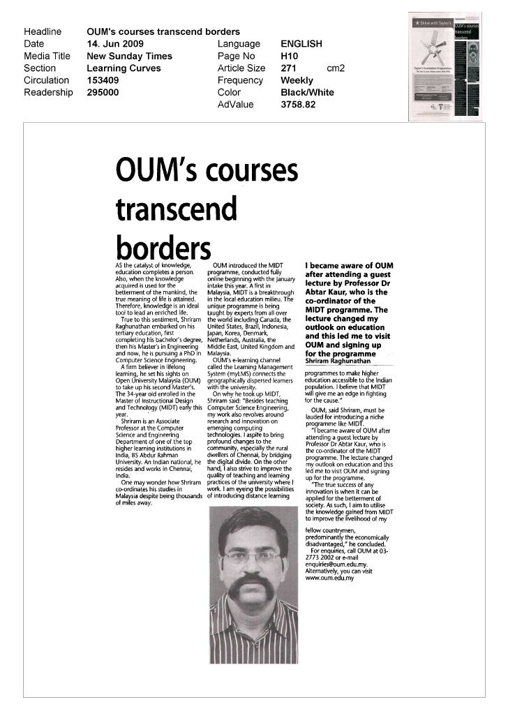 OUIVTs coursestranscendbordersAS the catalyst of knowledge         OUM introduced the MIDT             I became aware of O...