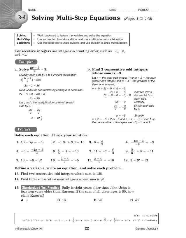 Lesson 3 homework practice algebra variables and expressions answers