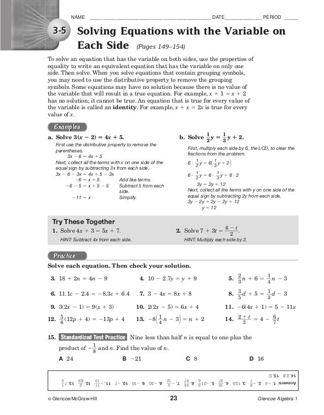 worksheet solving equations with variables on both sides - Termolak