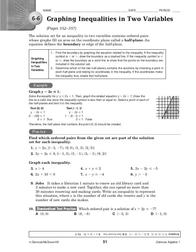 Graphing Inequalities In Two Variables Worksheet 5 6 ...
