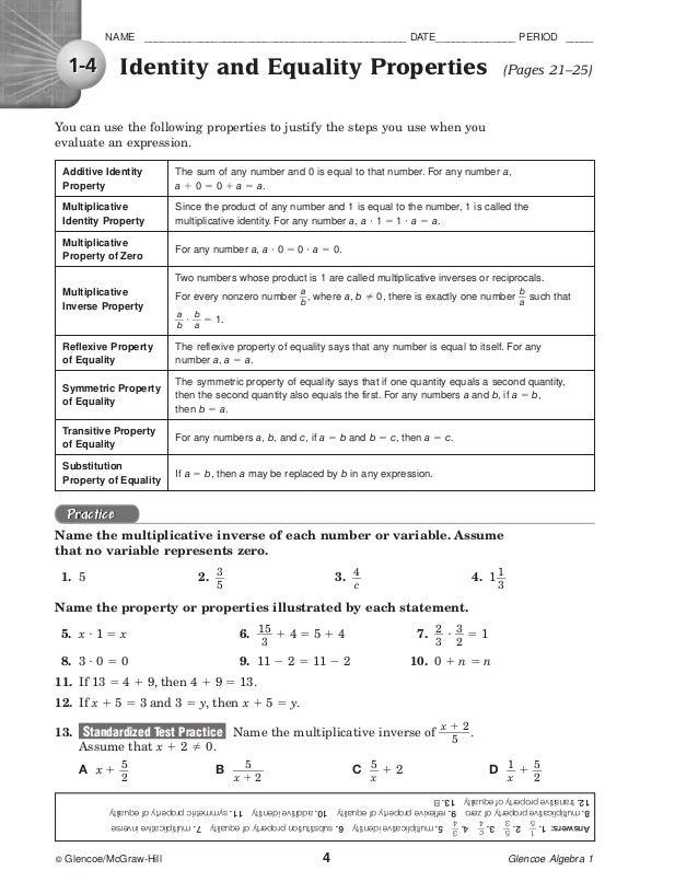 Glencoe Algebra 1 Standardized Test Practice Answers