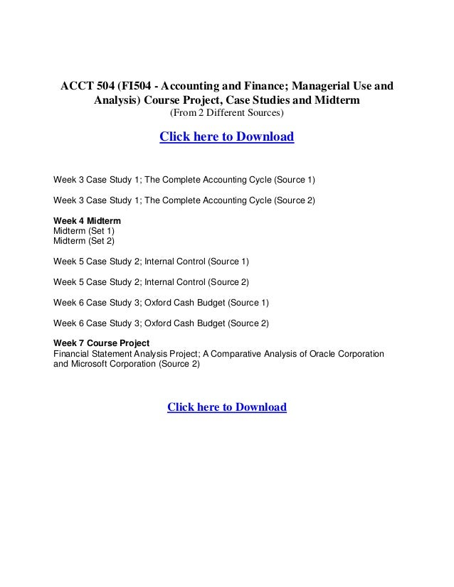 fi504 case study 1 the complete accounting cycle