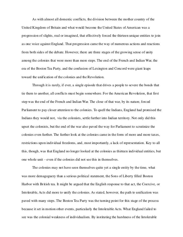 midterm essay response printed pdf as almost all domestic conflicts the division between the mother country of theunited kingdom