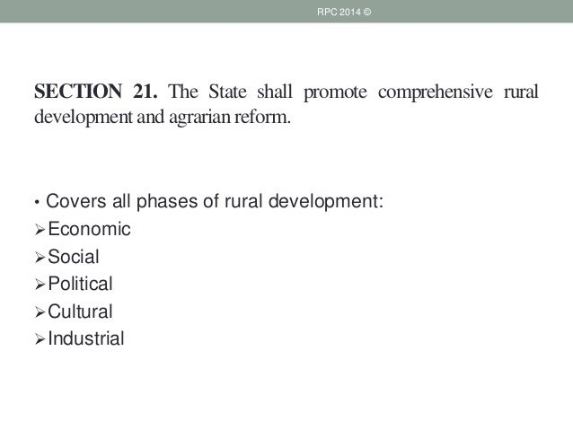 meaning of the state shall promote comprehensive rural development and agrarian reform The state shall help the peasants with implements, seed, tractors and  south  africa belongs to all who live in it, to promote common loyalty to  department of  rural development and land reform (drdlr) within this  comprehensive audit  of state owned land be completed  which means land owning trusts are not  easy.