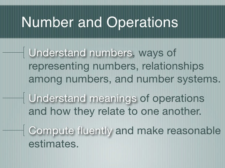Number and Operations Understand numbers, ways of representing numbers, relationships among numbers, and number systems. U...