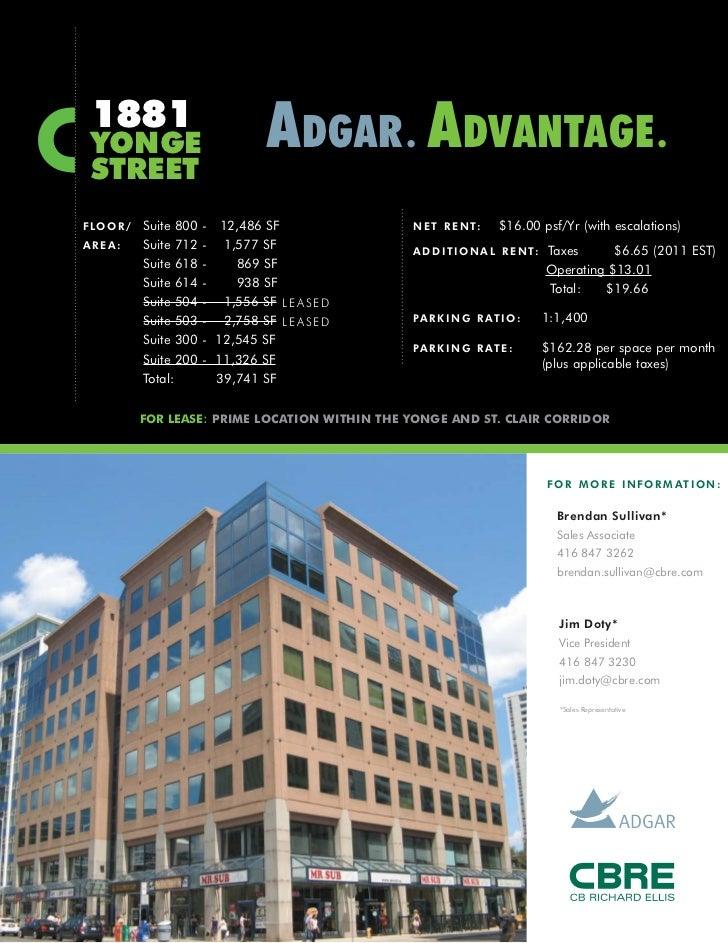 1881 YONGE                              ADGAR . ADVANTAGE . STREETF LO O R /   Suite 800   - 12,486 SF              N E T ...