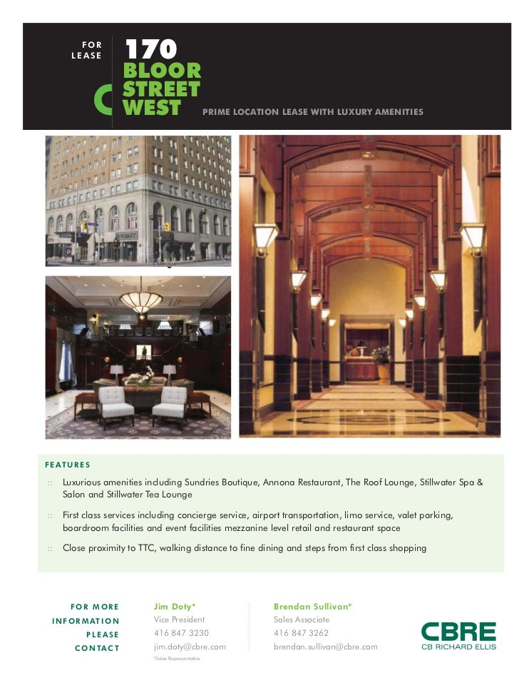 FOR        LEASE            170                         BLOOR                         STREET                         WEST ...
