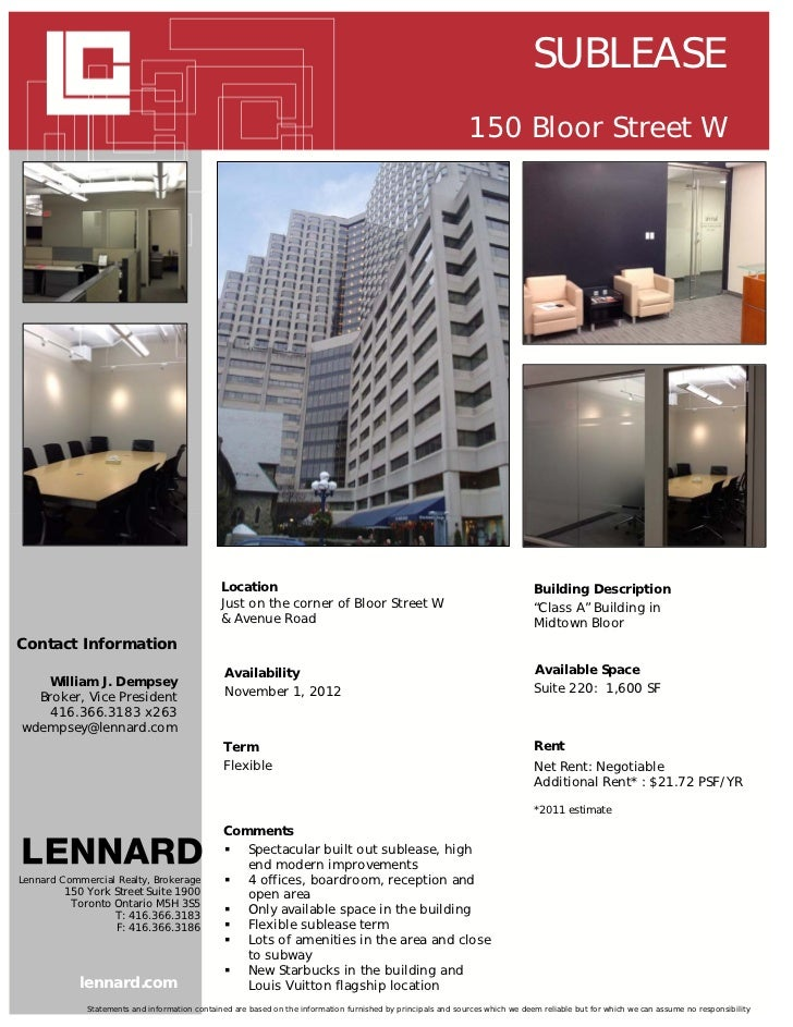SUBLEASE                                                                                                              150 ...