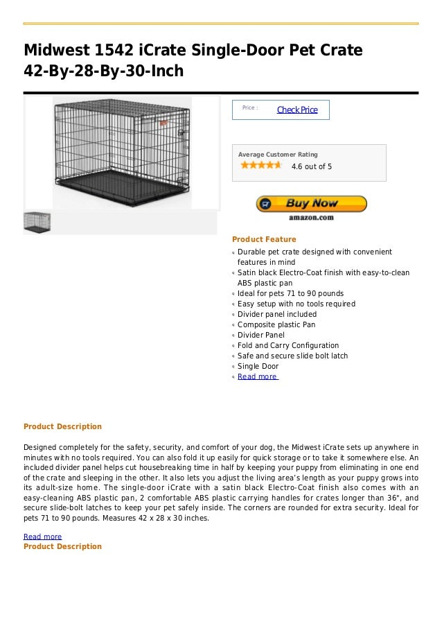 Midwest 1542 iCrate Single-Door Pet Crate42-By-28-By-30-Inch                                                              ...