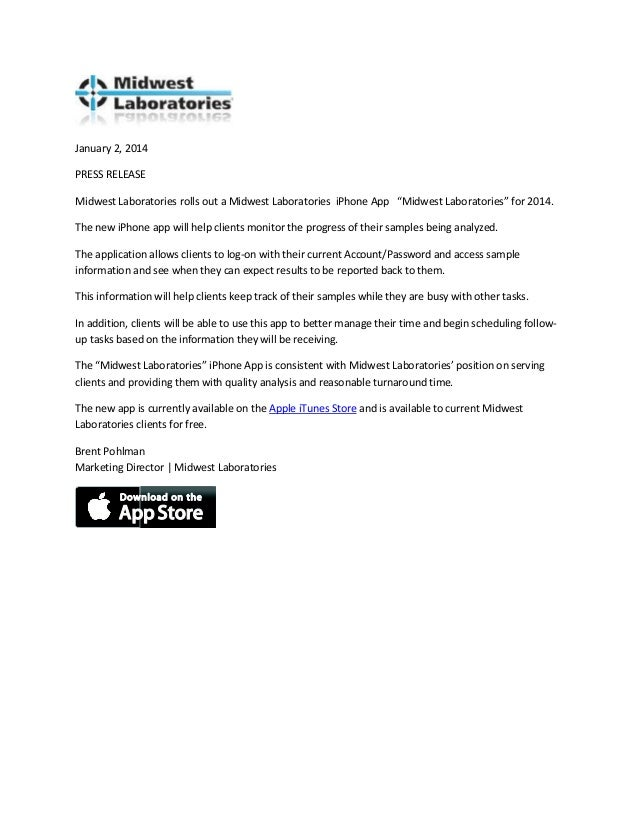 """January 2, 2014 PRESS RELEASE Midwest Laboratories rolls out a Midwest Laboratories iPhone App """"Midwest Laboratories"""" for ..."""