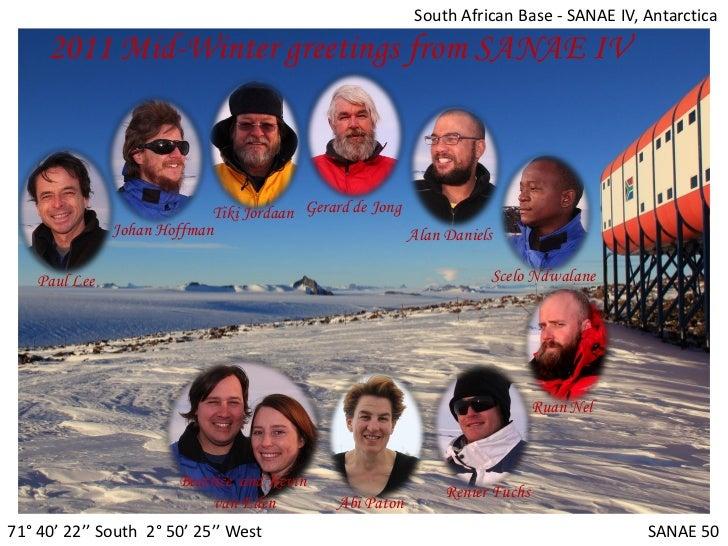 South African Base - SANAE IV, Antarctica     2011 Mid-Winter greetings from SANAE IV                            Tiki Jord...