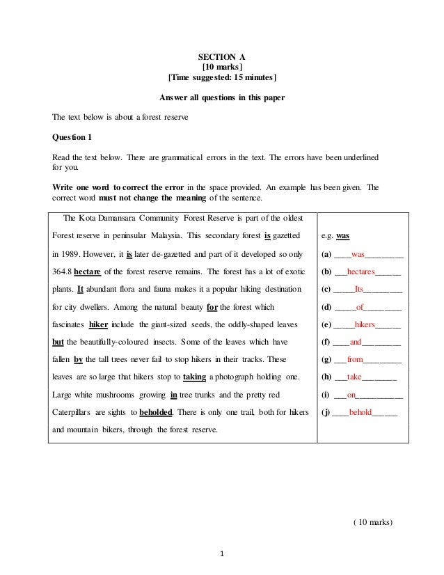 Pt3 English Mid Year Exam Form 3 2016 A