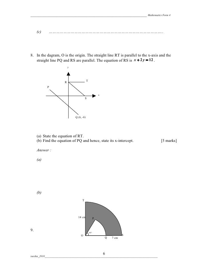 Mathematics Mid Year Form 4 Paper 2 2010