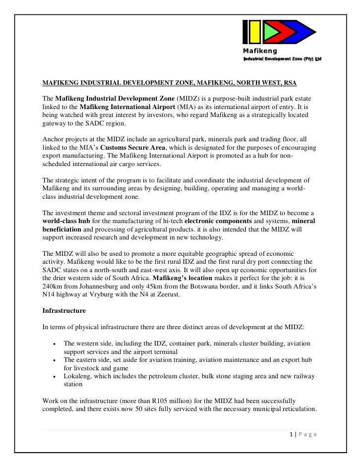 Mafikeng                                                                         Industrial Development Zone (Pty) Ltd    ...