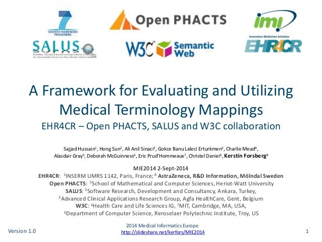 A Framework for Evaluating and Utilizing  Medical Terminology Mappings  EHR4CR – Open PHACTS, SALUS and W3C collaboration ...