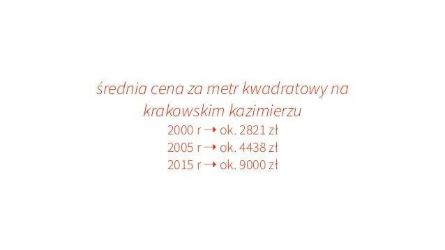 średnia cena za metr kwadratowy na krakowskim kazimierzu 2000 r ➝ ok. 2821 zł 2005 r ➝ ok. 4438 zł 2015 r ➝ ok. 9000 zł