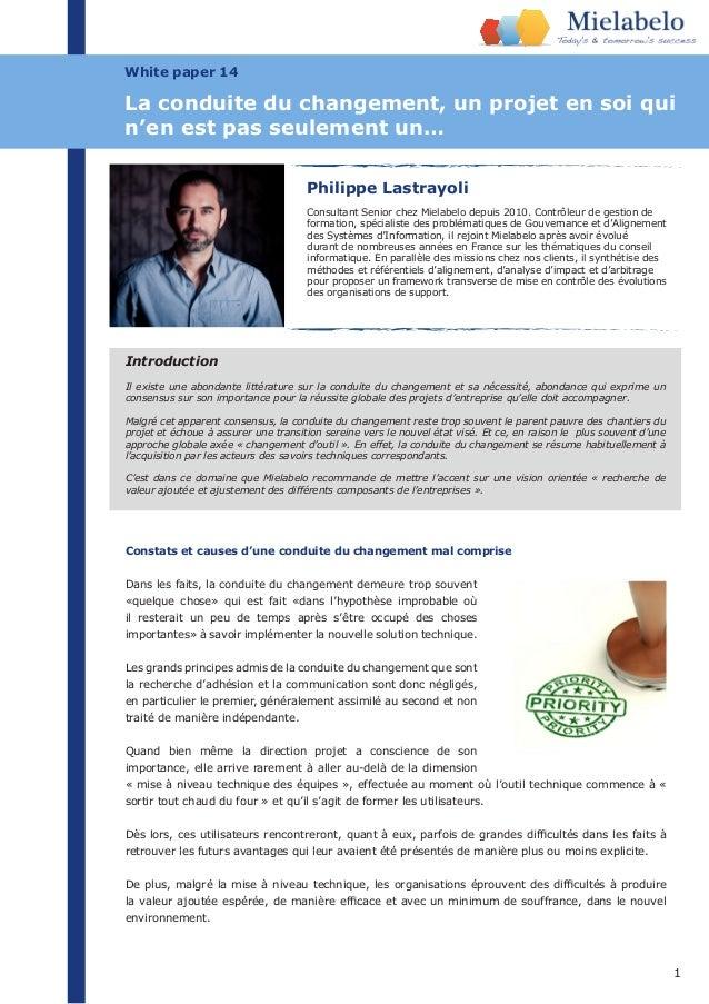1 White paper 14 Philippe Lastrayoli Consultant Senior chez Mielabelo depuis 2010. Contrôleur de gestion de formation, spé...