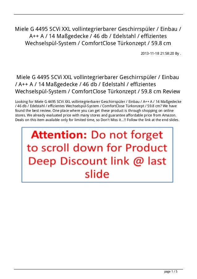 Miele G 4495 SCVi XXL vollintegrierbarer Geschirrspüler / Einbau / A++ A / 14 Maßgedecke / 46 db / Edelstahl / effizientes...