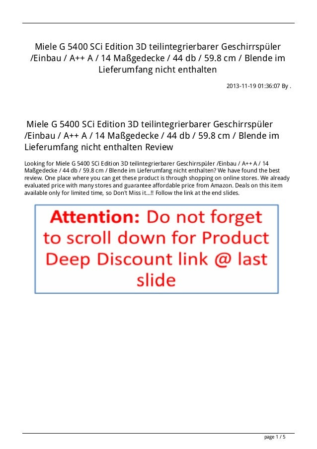 Miele G 5400 SCi Edition 3D teilintegrierbarer Geschirrspüler /Einbau / A++ A / 14 Maßgedecke / 44 db / 59.8 cm / Blende i...