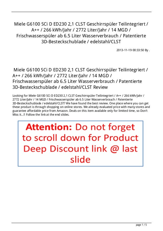 Miele G6100 SCi D ED230 2,1 CLST Geschirrspüler Teilintegriert / A++ / 266 kWh/Jahr / 2772 Liter/Jahr / 14 MGD / Frischwas...