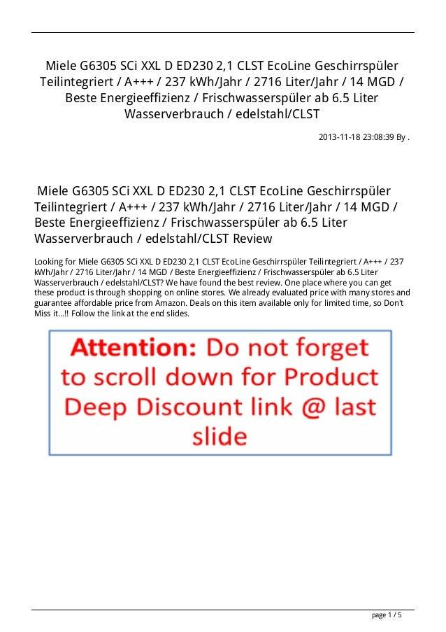Miele G6305 SCi XXL D ED230 2,1 CLST EcoLine Geschirrspüler Teilintegriert / A+++ / 237 kWh/Jahr / 2716 Liter/Jahr / 14 MG...