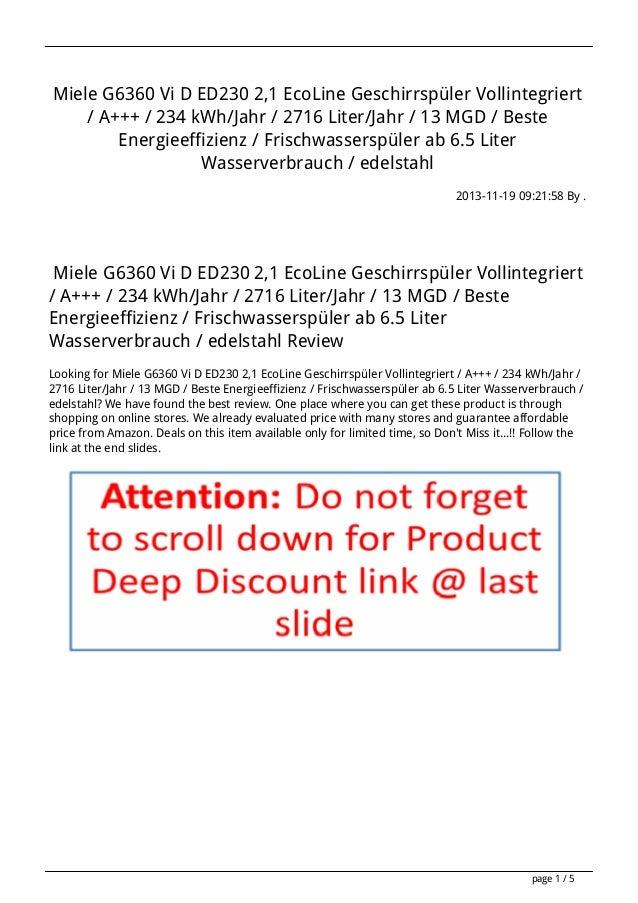 Miele G6360 Vi D ED230 2,1 EcoLine Geschirrspüler Vollintegriert / A+++ / 234 kWh/Jahr / 2716 Liter/Jahr / 13 MGD / Beste ...