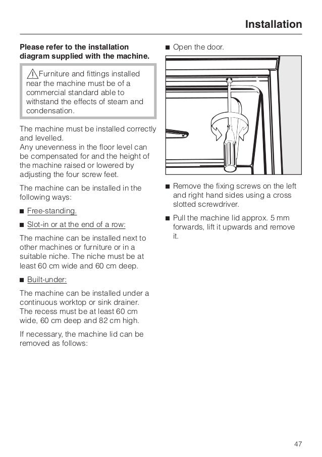 miele dishwasher g correcting minor faults 46 47 please refer to the installation diagram
