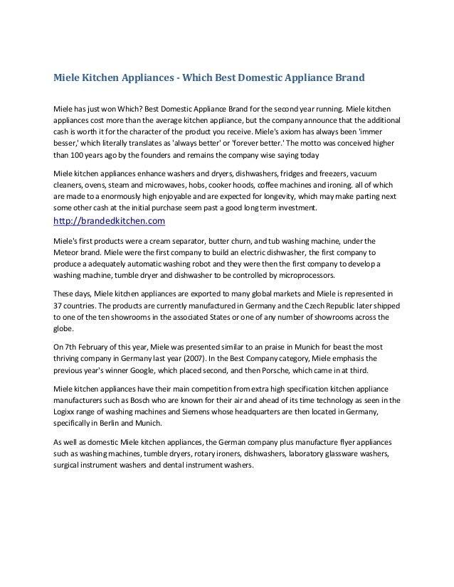 Miele kitchen appliances which best domestic appliance brand
