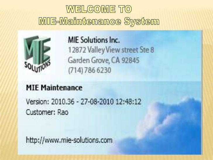 Mie maintenance powerpoint presentation