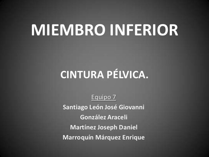 MIEMBRO INFERIOR   CINTURA PÉLVICA.             Equipo 7   Santiago León José Giovanni         González Araceli     Martín...