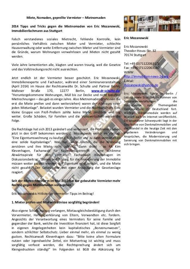 Miete, Nomaden, geprellte Vermieter – Mietnomaden 2014 Tipps und Tricks gegen die Mietnomaden von Eric Mozanowski, Immobil...