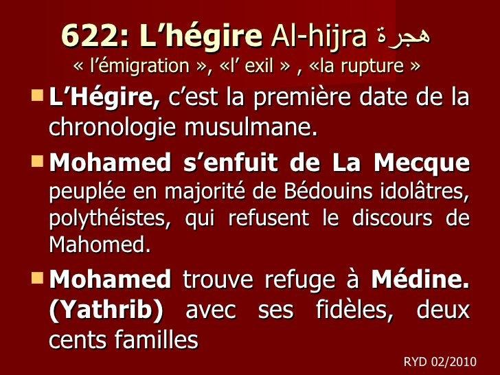 622: L'hégire  Al-hijra  هجرة  « l'émigration », «l'exil», «larupture»  <ul><li>L'Hégire,  c'est la première date de ...