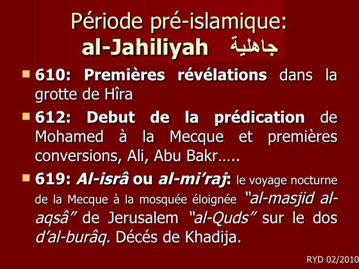 Période pré-islamique: al-Jahiliyah   جاهلية <ul><li>610: Premières révélations  dans la grotte de Hîra </li></ul><ul><li>...