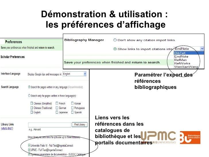Démonstration & utilisation :  les préférences d'affichage Paramétrer l'export des références bibliographiques Liens vers ...