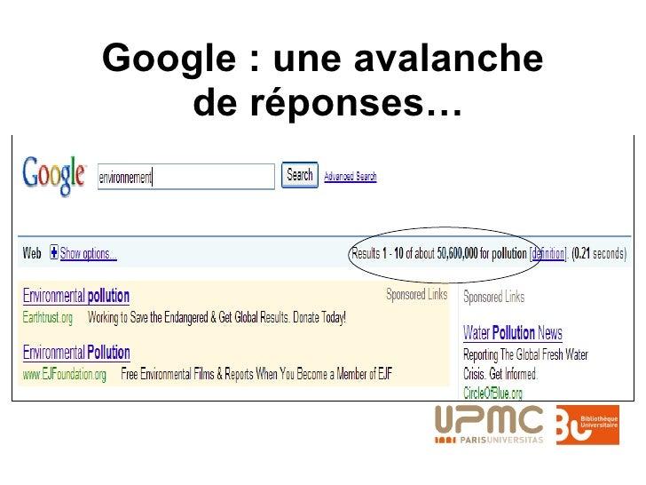Google : une avalanche  de réponses…