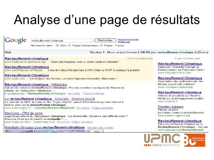 Analyse d'une page de résultats