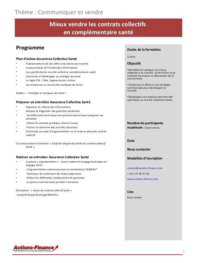 Mieux vendre les contrats collectifs en complémentaire santé Programme Plan d'action Assurance Collective Santé • Position...