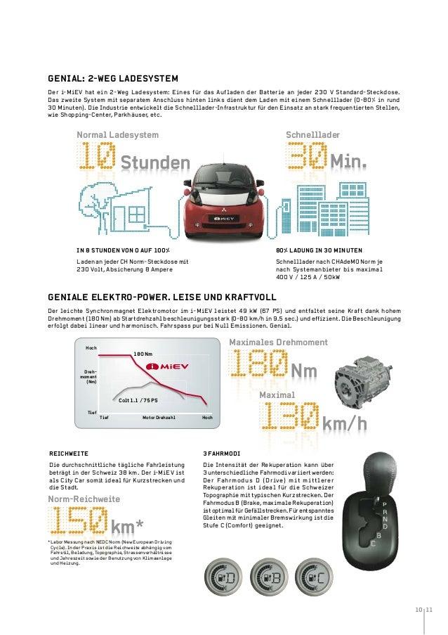 10 11 Min.Stunden Nm km/h km* Der i-MiEV hat ein 2-Weg Ladesystem: Eines für das Aufladen der Batterie an jeder 230 V Stan...