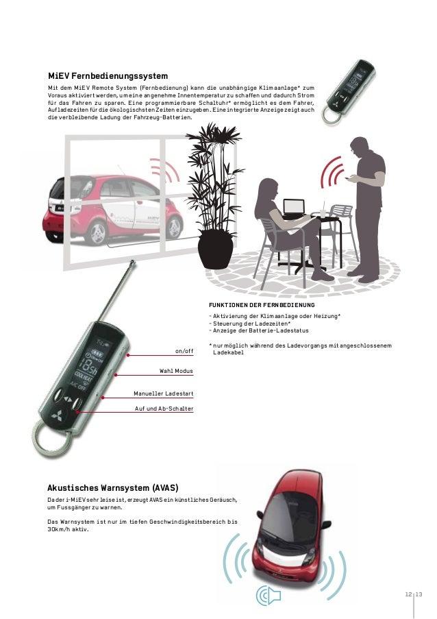 12 13 MiEV Fernbedienungssystem Mit dem MiEV Remote System (Fernbedienung) kann die unabhängige Klimaanlage* zum Voraus ak...