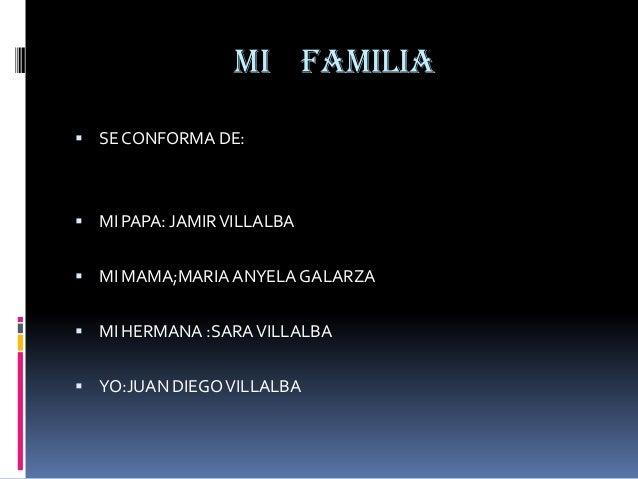 MI FAMILIA SE CONFORMA DE: MI PAPA: JAMIR VILLALBA MI MAMA;MARIA ANYELA GALARZA MI HERMANA :SARA VILLALBA YO:JUAN DIE...