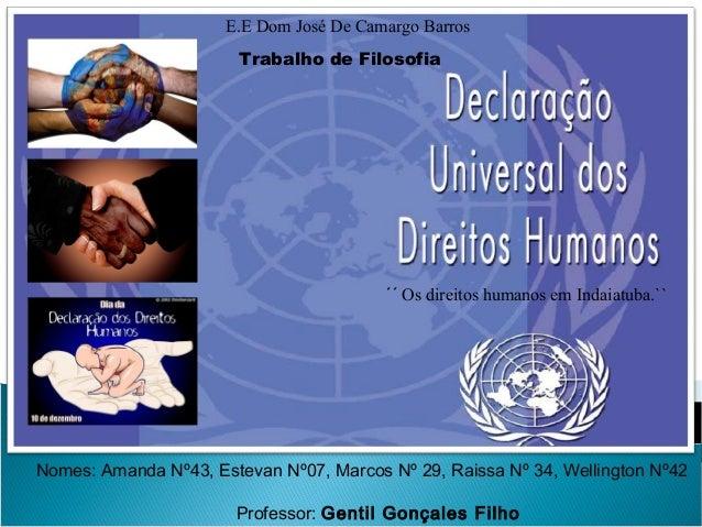 E.E Dom José De Camargo Barros Trabalho de Filosofia  ´´ Os direitos humanos em Indaiatuba.``  Nomes: Amanda Nº43, Estevan...