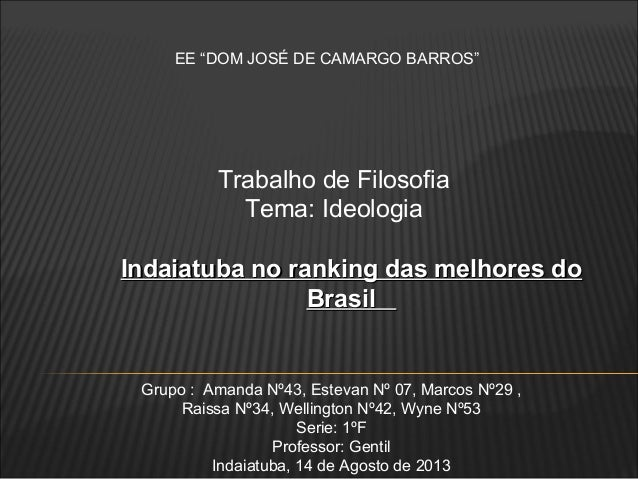 "EE ""DOM JOSÉ DE CAMARGO BARROS"" Trabalho de Filosofia Tema: Ideologia Grupo : Amanda Nº43, Estevan Nº 07, Marcos Nº29 , Ra..."