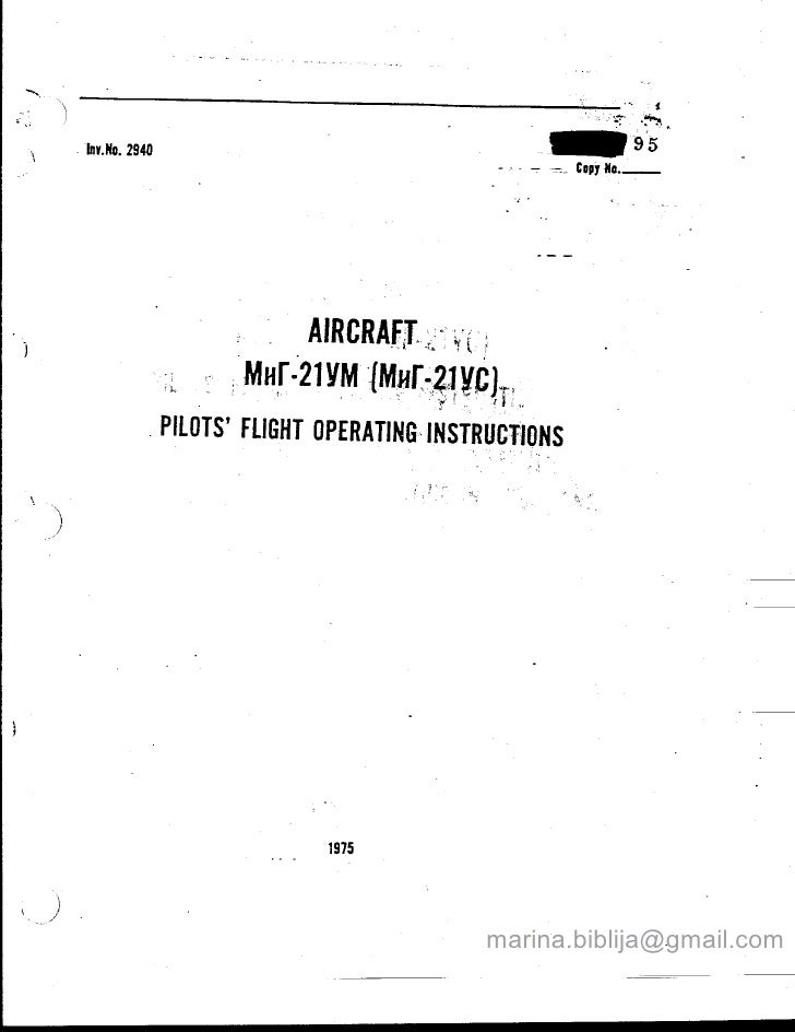 MiG-21 US/UM Flight Manual with W&B Manual