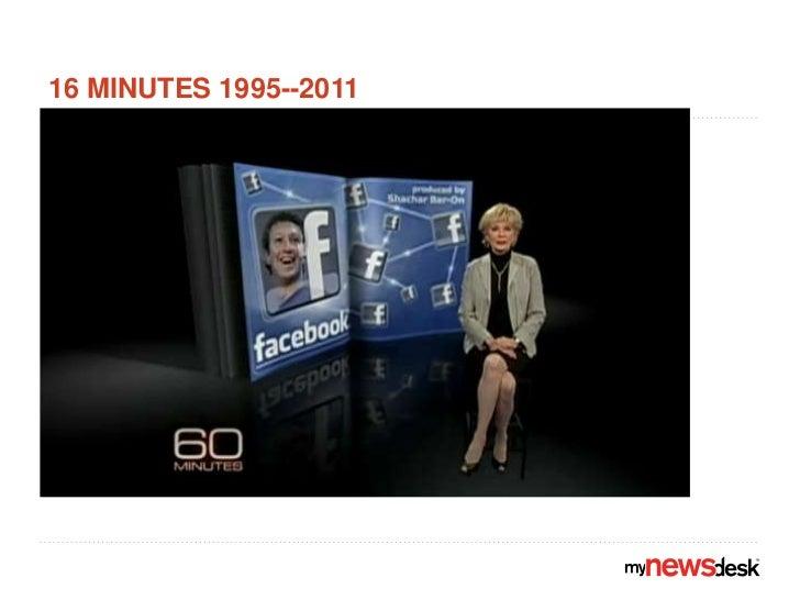 16 minutes 1995--2011<br />http://www.cbsnews.com/video/watch/?id=7120522n<br />