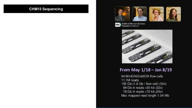 Intramural Sequencing Center CHM13 Sequencing 94 MinION/GridION flow cells 11.1M reads 155 Gb (1.6 Gb / flow cell) (50x) 9...