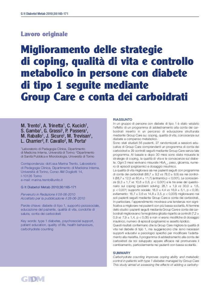 G It Diabetol Metab 2010;30:165-171Lavoro originaleMiglioramento delle strategiedi coping, qualità di vita e controllometa...