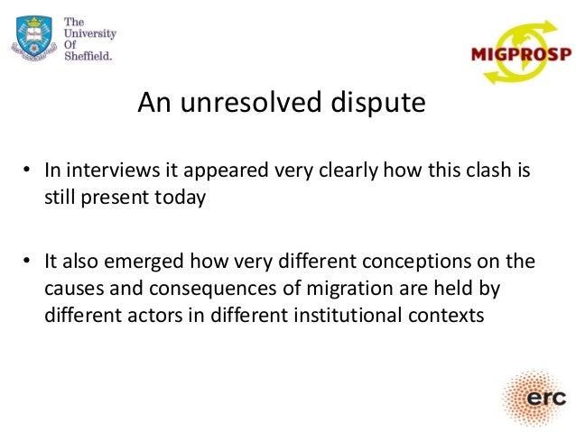 An unresolved dispute • In interviews it appeared very clearly how this clash is still present today • It also emerged how...